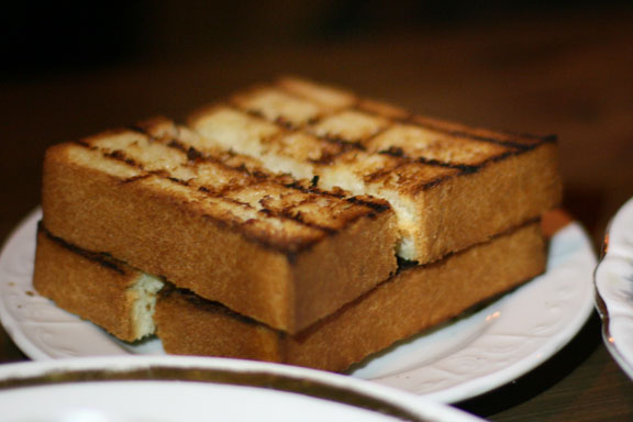 Sandy wanted to order the Grilled pain de mie soldiers (garlic confit butter), which was basically toasted bread for $5.