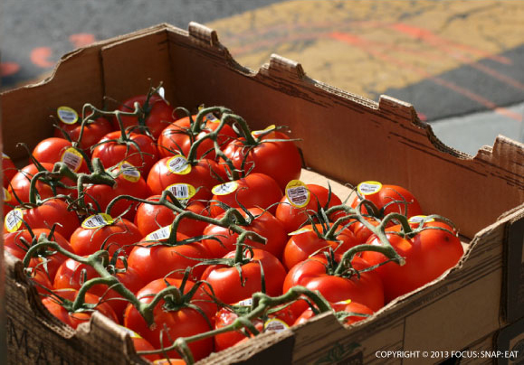 Ripe tomatoes on the street (shot in the summer)
