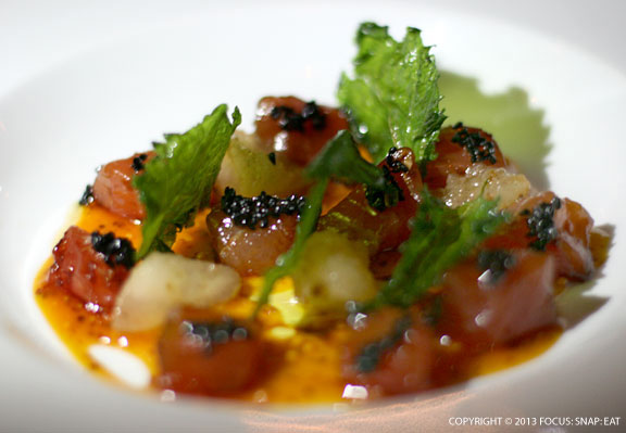 Ahi tuna crudo ($19) was an explosion of flavors with the rich tuna and refined oil sauce.