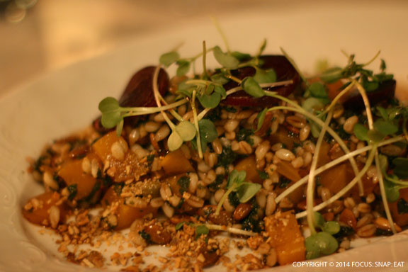 Farro and roasted beet salad ($13) had a toasty flavor from the pumpkin seeds but maybe a bit too much vinegar flavor.