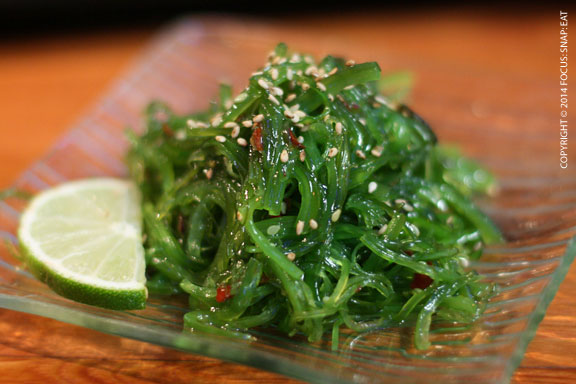 Unusually bright green seaweed salad $3.95)