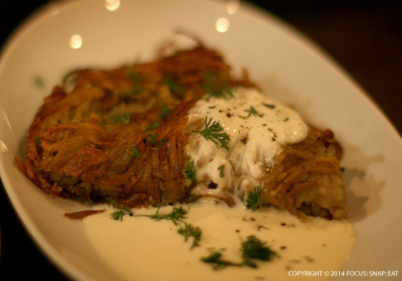 Side of rosti potatoes and salsify crème fraiche, $6