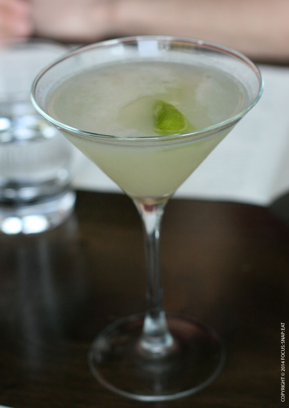 Lunch started with The Bartlett made of Grey Goose la poire, St. Germaine, Bartlett pear puree and lime, $12