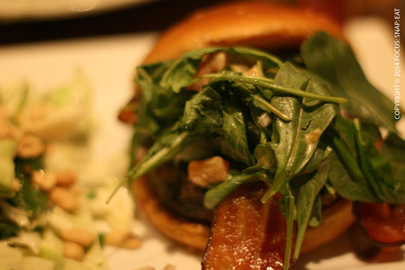 Fresno Fig Burger ($11.25) with a sweet fig marmalade, melted goat cheese, crispy bacon and arugula with spicy porter mustard.