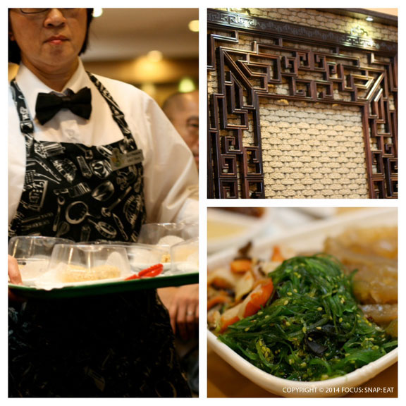 The dining room had servers bringing dim sum via carts and trays