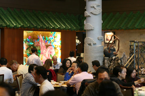 Crowds enjoying the dim sum at Koi Palace. You never feel crushed inside despite the crowd scene outside.
