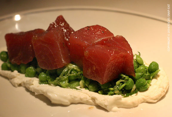 Half order of tuna tartare with crushed green pea salad (AUS $16 or $15)