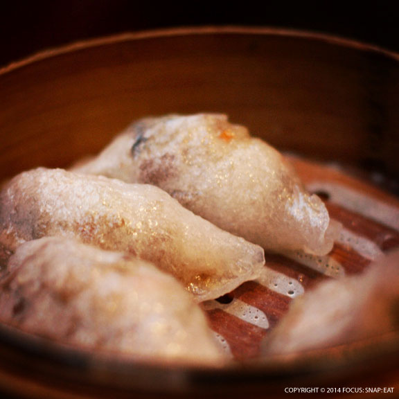 Duck meat dumplings were translucent thin skin wrappers with minced duck meat filling