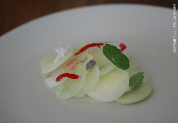 The meal started with a crisp and elegant dish of apple and white peaches with sour cream or curd.