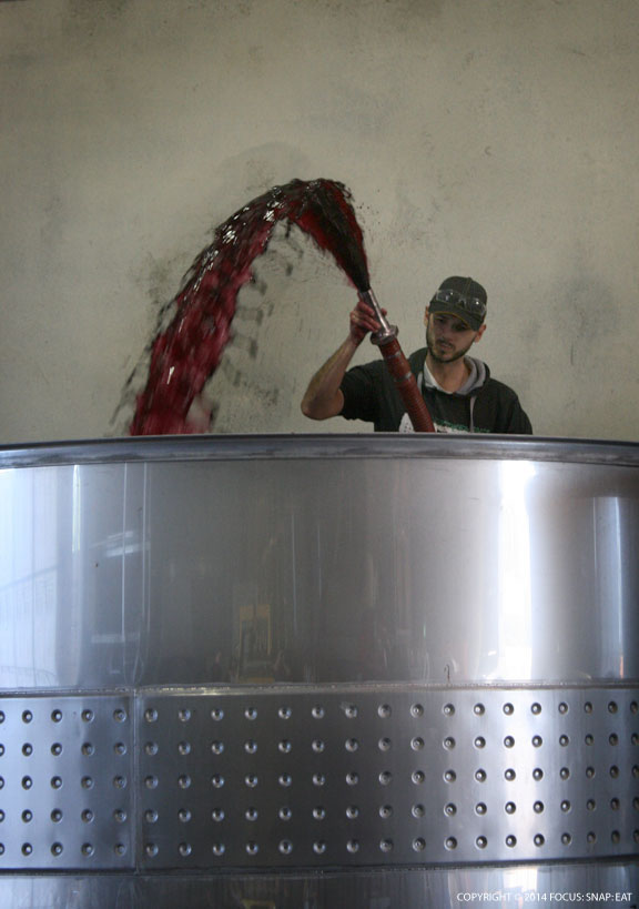 A worker has to spray the wine to get air into it three times a day, helping to improve the color.