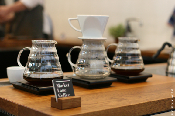 Fancy brewing pots at Market Lane Coffee at the Queen Victoria Market in Melbourne.