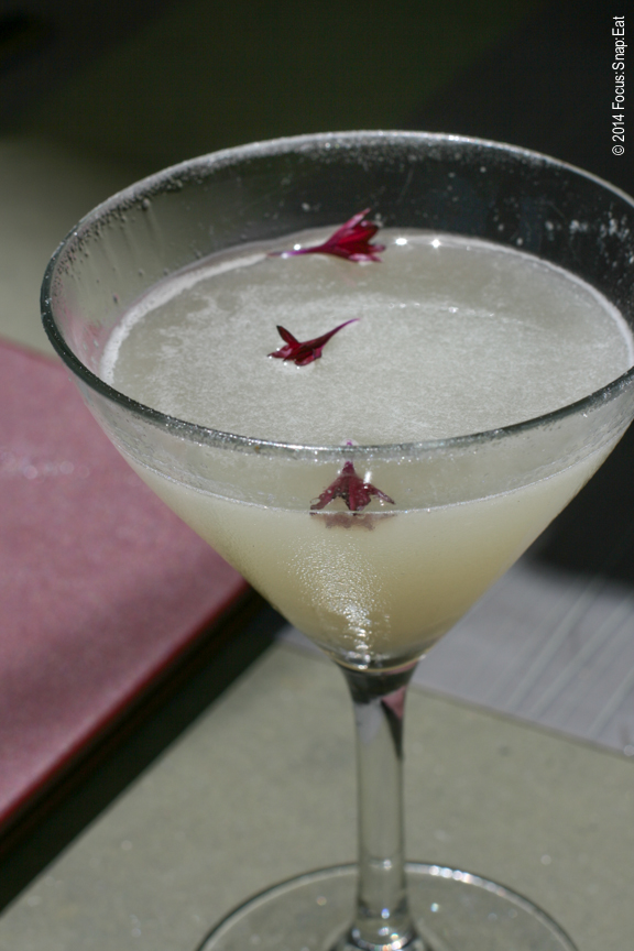"""""""Flirt,"""" a cocktail made with roasted jalapeño tequila, peach bitters, and spicy sugar rum, $12"""