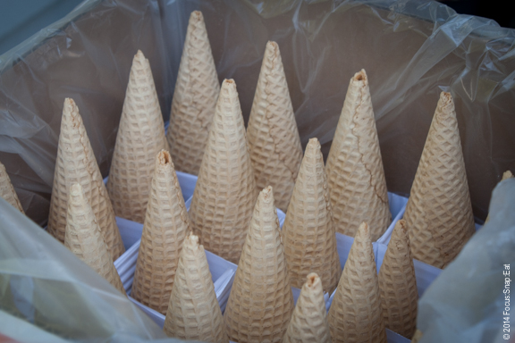 Cones ready for some gelato to top it.