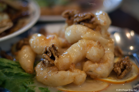 Popular walnut prawns, $15.95