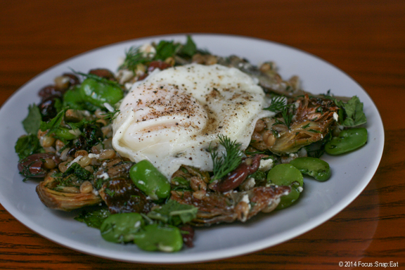 Chokes and Favas is a plate of marinated artichokes, fresh favas, ricotta salata, olive, and barley all topped with a Schmaltz-fried farm egg, $10