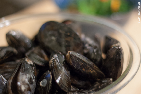 Mussels need to be scrubbed clean