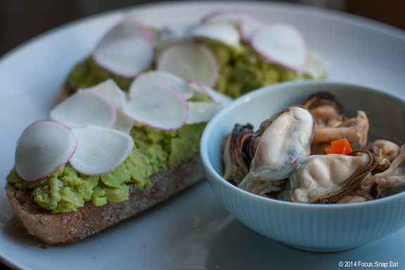 A nice light lunch of smashed fava bean bruschetta with chili pickled mussels.