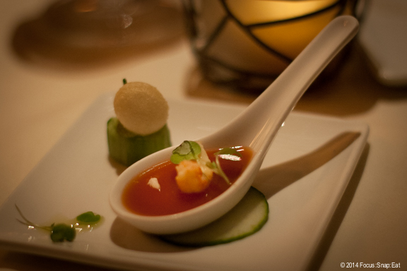 Dinner started with an amuse bouche of Vietnamese-inspired gazpacho gelee and a tiny celery-avocado bite with won ton puff.