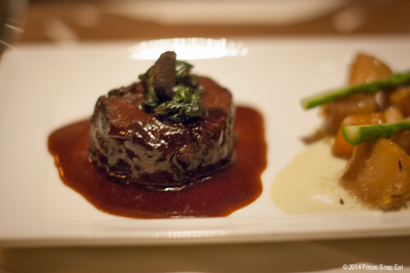 Braised wagyu Kobe beef cheeks with sweet and spicy root vegetables.