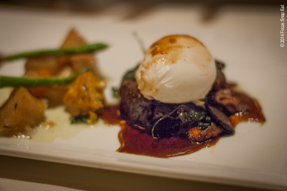 More of the beef cheeks, with a poached egg on top.