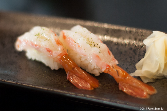 Vera added at the last minute an order of ama ebi ($7), which is raw sweet shrimp. I've never had this before, and found the shrimp meat so beautiful.