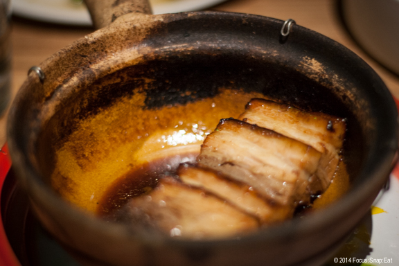 Caramelized Pork Belly ($13) is served in a claypot and is simply dressed in a sweet savory soy sauce.