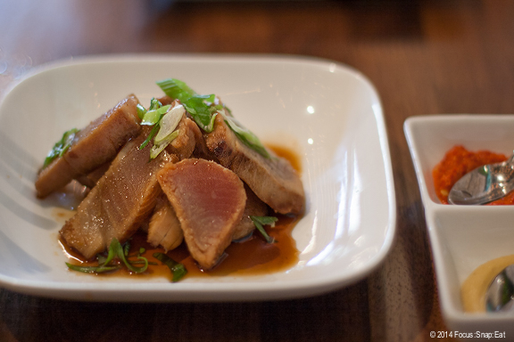 Unsmoked fish is a dish inspired by the chefs' travels to Taiwan where fish is cooked with the same ingredients used to smoke duck, giving the fish a smokey flavor but without actually curing it. Here Chino uses tuna lightly seared ($11)