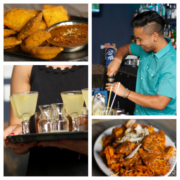 """Indian bar bites include holy moly fried ravioli with tikka masala (top) and """"sexy fries."""" Cocktails are nicely balanced."""