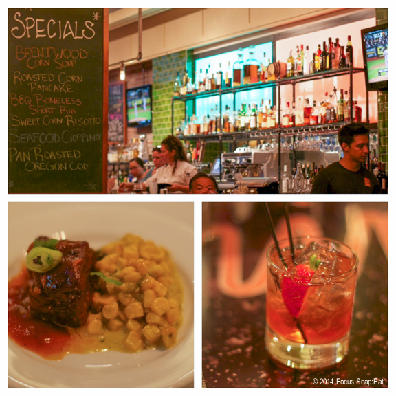 At Three Restaurant, we tried cocktails like the strawberry-basil infused espolon and a tasting of their short ribs with creamed corn.