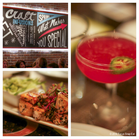 """More drinks and food from Three, including a jalapeno and Skyy vodka cocktail dubbed the """"Hally Berry"""" and unagi-glazed salmon."""