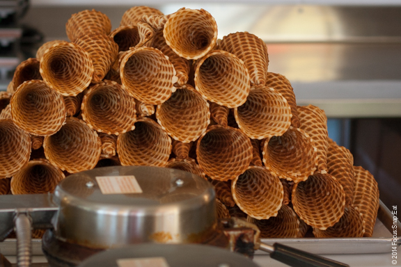 Freshly made waffle cones