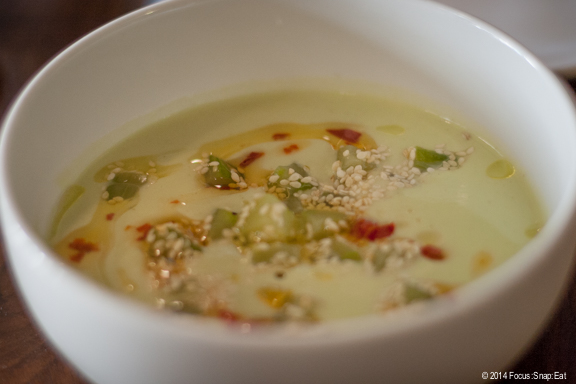 Chilled avocado and cucumbre soup with sesame and chile ($10)