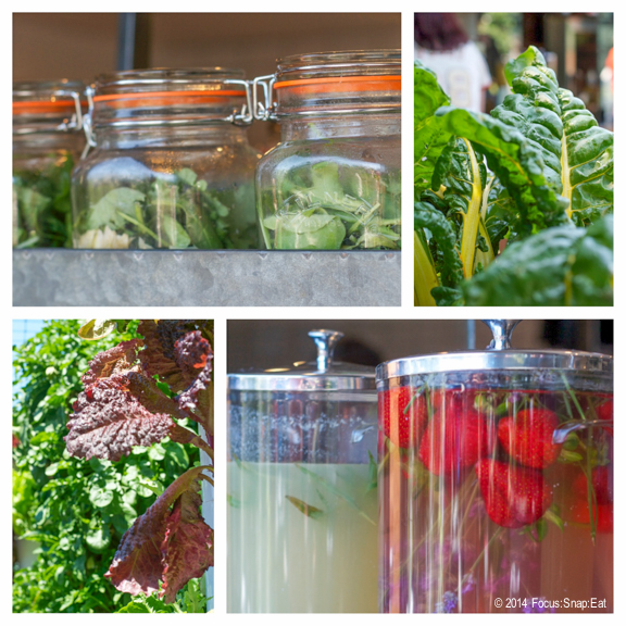 Salads in mason jars and fresh fruit drinks are available
