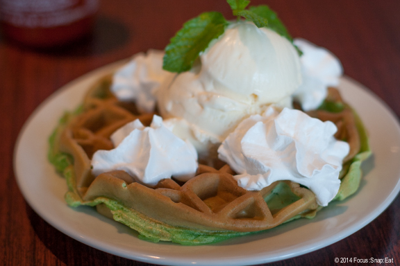 There are more dessert selections than typical Vietnamese restaurants, including this pandan leaf coconut waffle with ice cream ($7). I was disappointed that the waffle didn't have a crispy edge, almost chewy like frozen waffles.