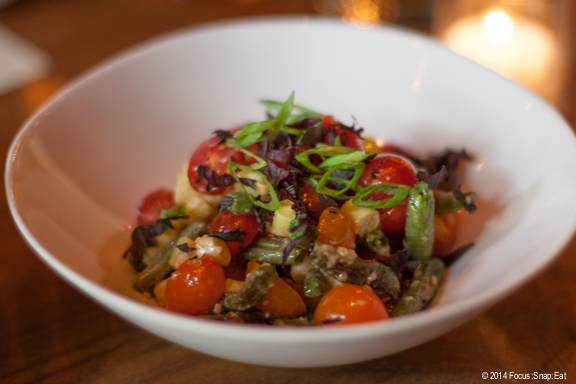 Refreshing tomato salad ($10) with runner beans, miso, and shiso