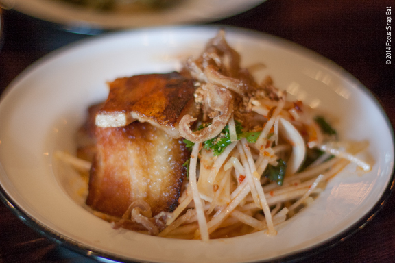 Kohlrabi and hearts of palm salad ($11) with crispy pork belly.