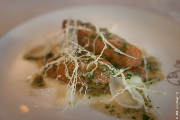 Sweetbreads Grenobloise with sweet onion, capers and brown butter ($16.50)
