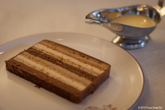A must-order dessert item: the Gateau Marjolaine ($10.50) with hazelnut, praline, and creme anglaise.
