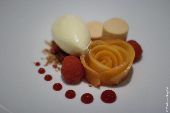 Final course was peach melba dessert with poached peach presented as a rose, peach mousse, feuilletine, raspberry, and vanilla bean ice cream.