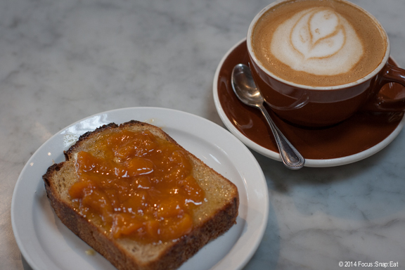 I tried a toast with peach jam ($3.75) and a soy latte. The peach jam was chunky and super fresh.