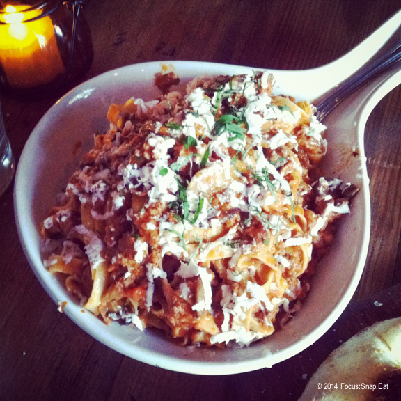 Bolognese ($15) with tagliatelle, traditional sauce of beef, pork, pancetta, San Marzano tomatoes, ricotta salata and mushrooms.