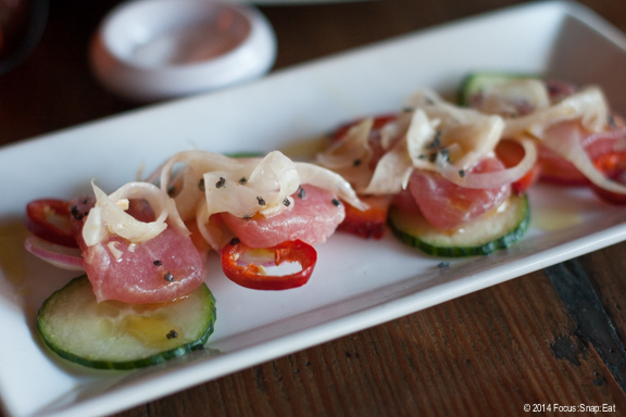 Crudo special ($9) was raw fish served on cucumbers and topped with fennel and chili slices.