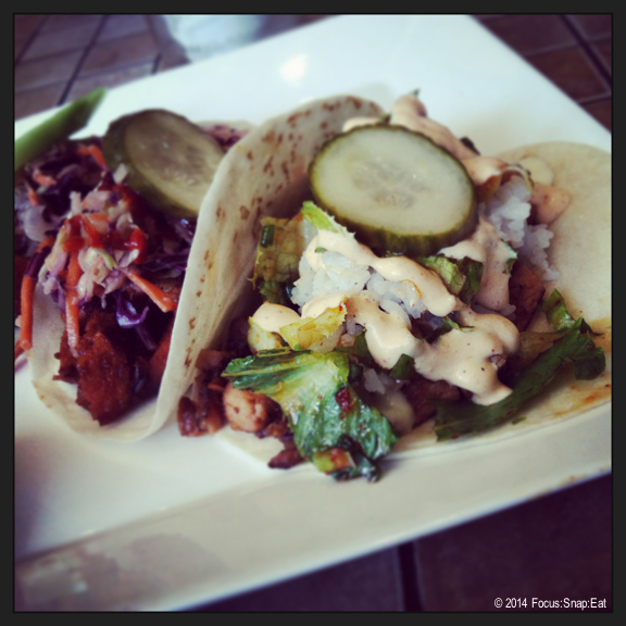 Pork belly taco on the left ($3.75) and grilled chicken taco on the right ($3.75). The pork belly was on the dry side but I enjoyed the flavor combination of the grilled chicken with Korean slaw and pickled cucumbers.