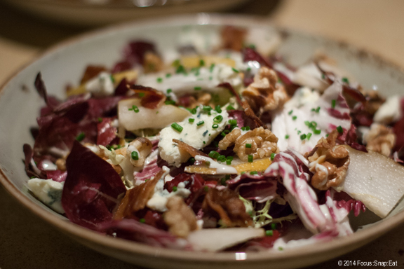 Seasonal radicchio salad ($14) with pears, toasted walnuts, bacon, and Point Reyes Blue Cheese vinaigrette. We all enjoyed the dressing that softened the bitterness of the radicchio.