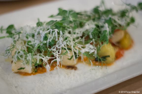 Ricotta gnocchi ($14) with heirloom tomato puree, jalapenos, mint and pecorino. I felt the gnocchi was on the big side, and not as light or delicate.