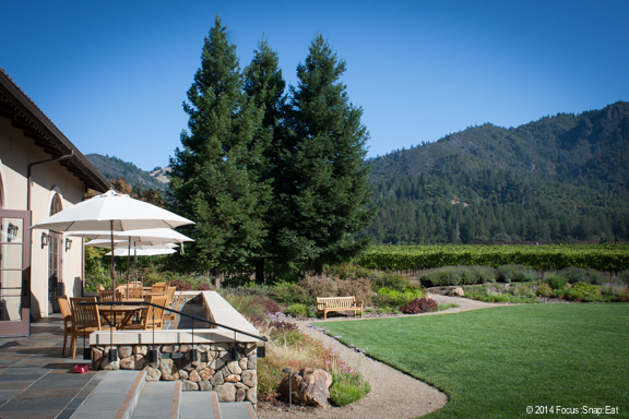 On a perfect day, it's great to just hangout in the manicured garden and patio with views of the vineyards and mountains.