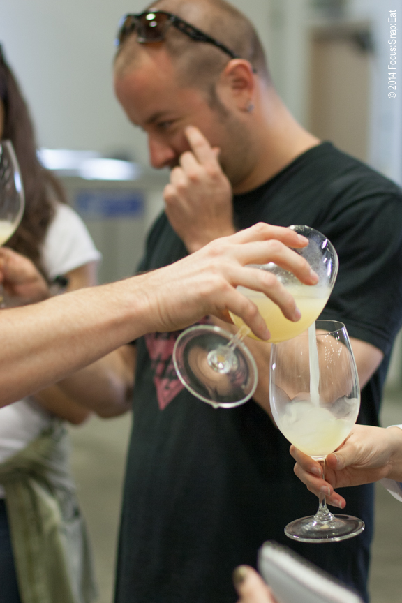 We got to taste sauvignon blanc that barely finished fermenting. It was cloudy and sweet.