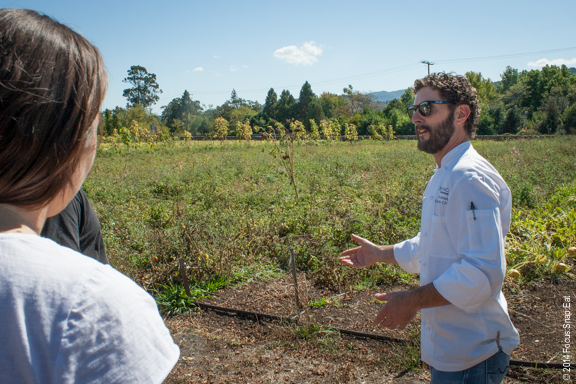 Chef Bryan Jones showing us the garden where he picks his ingredients for his wine and food pairing menu.