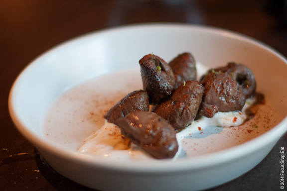 Grilled duck hearts ($6) that Sandy and Brenda shared and I passed on. (Sorry, but it looked like something you'd pick up on the sidewalk.) The girls loved it.