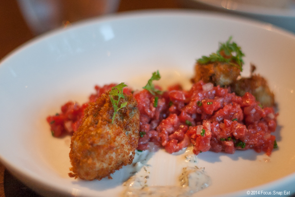 Sandy and Brenda's steak tartare with fried oysters and remoulade ($16). Fried foods? Pass.